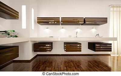 Interior of modern kitchen 3d render