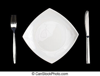 square white plate fork and knife isolated on black background