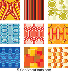 Retro wallpaper - A vector illustration of a set of retro...