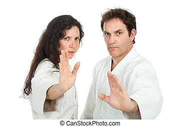 aikido teachers - couple of aikido teachers, isolated on...