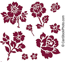 Vector Rose Icon Set - Set of vector rose and flower...