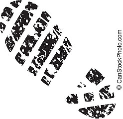foot print - vector illustration of mans grunge foot print