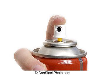 finger pressing a button spray