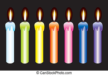burning candles - vector set of burning candles