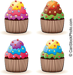 colorful cupcakes  - vector colorful cupcakes with sprinkles