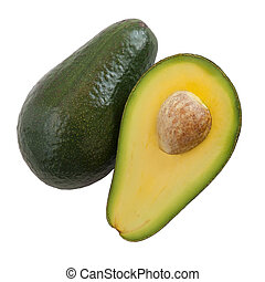 Avocado white background - Split avocado pieces viewed from...