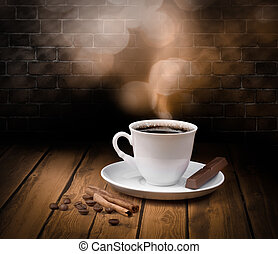 negro, caliente, café, taza, chocolate, canela