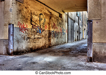 dirty lane in the old town, corner of narrow street, grunge...