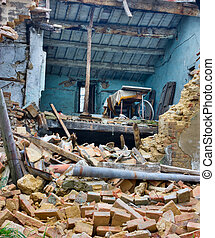 after earthquake - old ruined house destroyed during...