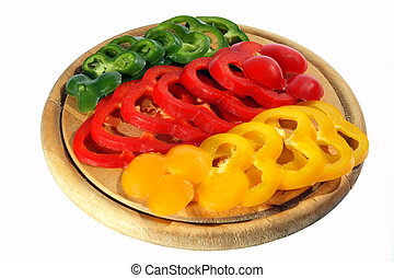 pepper - Red yellow orange green pepper on the chopping...