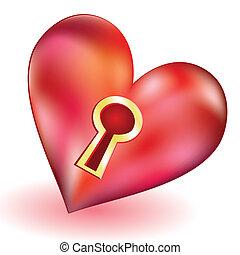 a, Coração, buraco fechadura