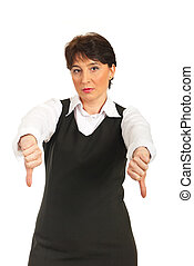 Mature corporate woman with thumbs down - Sad mature...