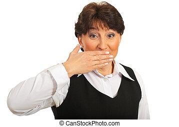 sobre, mulher, boca, espantado, mão