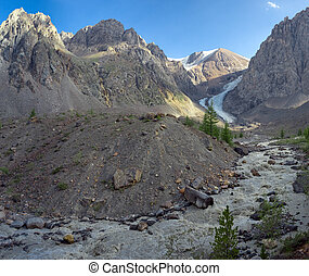 Foot of Small Aktru glacier - Panorama, Small Aktru glacier,...