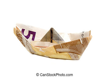 ship made of money - Ship made of money, isolated on white...