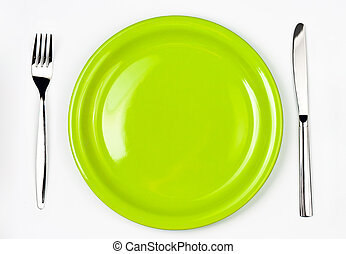 Knife, green plate and fork