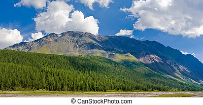 Panorama of mountain near Small Aktru glacier, created from...