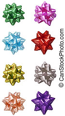 Gift ribbons colorful set isolated on white with clipping paths included
