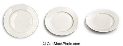 Set of round plates isolated on white with differen angle of view