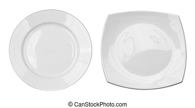 Top view of round and square plates set isolated on white