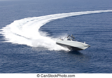 fast boat in mediterranean sea, aerial view