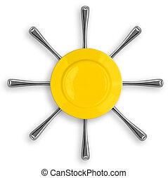 amarillo, redondo, placa, ocho, tenedores, forma, sol