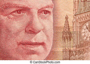 Portrait of William Lyon Mackenzie King on a 50 dollar bill...