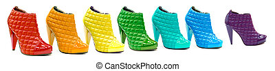 Variety of all rainbow colors in patent leather shoes or...