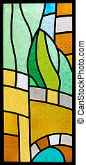 Stained glass with abstract pattern - Colorful stained glass...