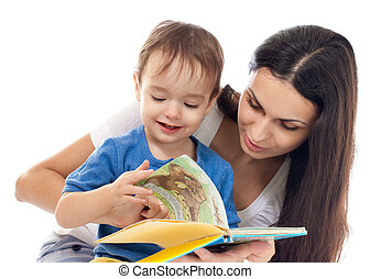 Mother and son reading book together isolated on white