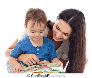 madre, hijo, lectura, libro, juntos, aislado, blanco