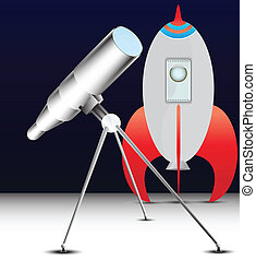 telescope and space rocket