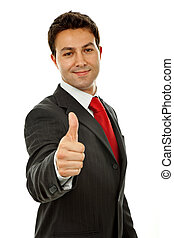 thumb up - young business man going thumb up, isolated on...