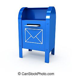 Metal color mailbox over white background. Computer...
