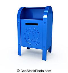 色, 上に, 金属, メールボックス, 背景, 白