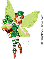 St Patricks Day Fairy - Illustration of beautiful St...