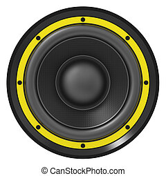 3d illustration of yellow audio speaker on white background