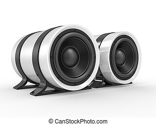 3d illustration of audio speaker on white background