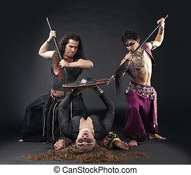 Man with spike, woman with shield - ritual scene - ritual...