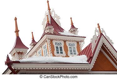 techo, viejo, hermoso, de madera, buildng, aislado, blanco