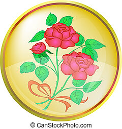 Button Flower rose red