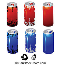 energy drink cans vector