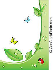 Eco background or design with ladybird and butterfly