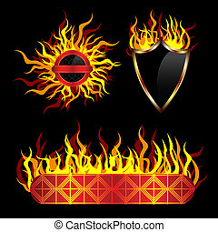 Fiery vector templates or labels, set of 3 pieces