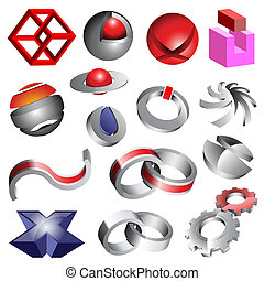 Abstract 3d logos - Abstract 3d vector logos and icons, set...