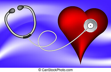 Heart and stethoscope, vector medical illustration