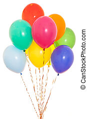 colourful balloons bunch filled with helium isolated on white