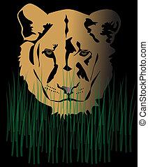 lions, femme, portrait