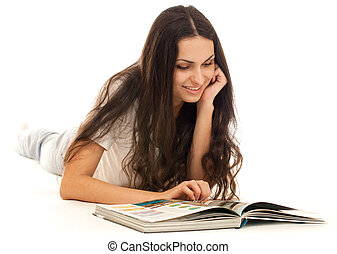 Young woman reading book on floor isolated on white