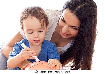 imagen, globo, juntos, hijo, madre, dibujo, rojo